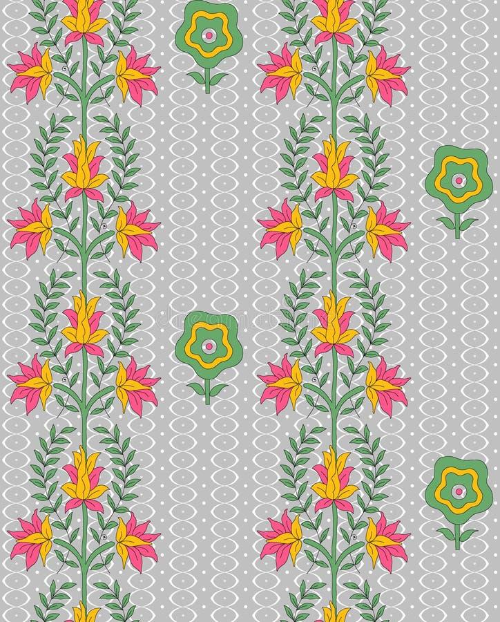 Fundo cinzento do design floral colorido sem emenda ilustração stock