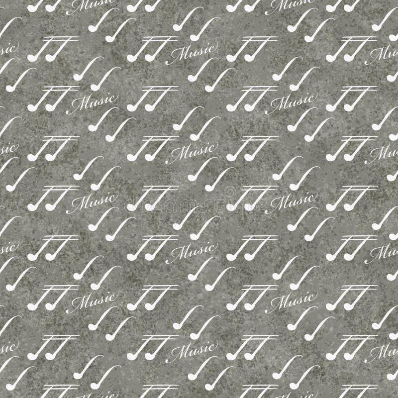 Fundo cinzento e branco da repetição do teste padrão da telha do símbolo de música fotos de stock royalty free