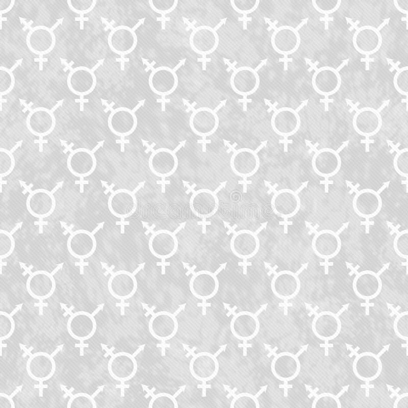Fundo cinzento e branco da repetição do teste padrão da telha do símbolo do Transgender ilustração royalty free