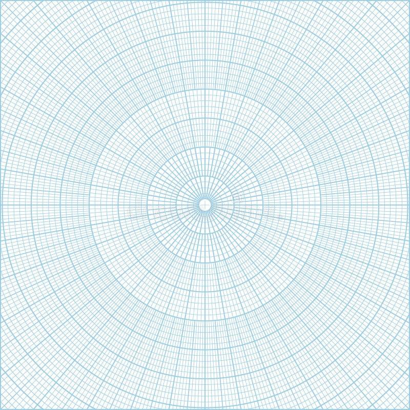 Fundo circular do papel de gráfico da grade da coordenada polar ilustração stock