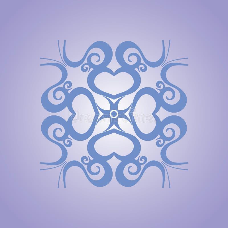 Fundo circundado do vetor do coração no tom azul ilustração royalty free