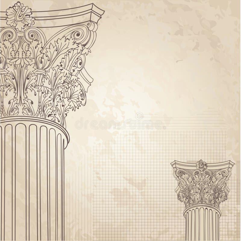 Fundo clássico das colunas Coluna romana do corinthian IL ilustração stock