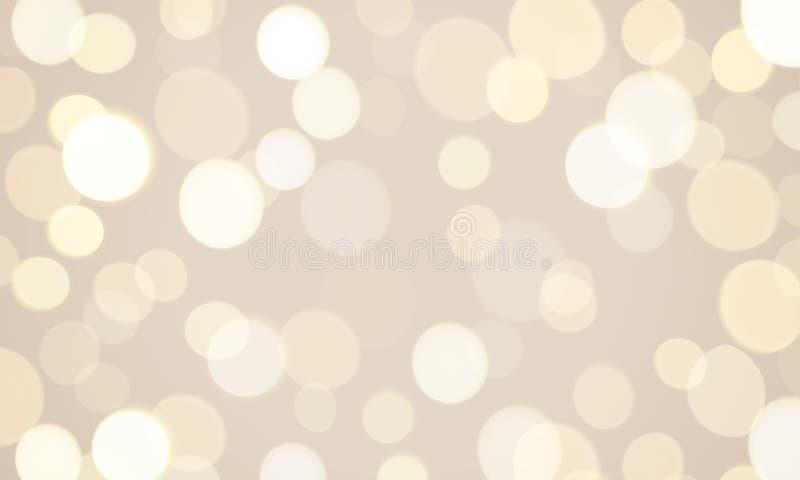 Fundo claro abstrato do efeito do fulgor do brilho Brilho defocused do sol do vetor ou luzes efervescentes douradas e brancas e f ilustração stock