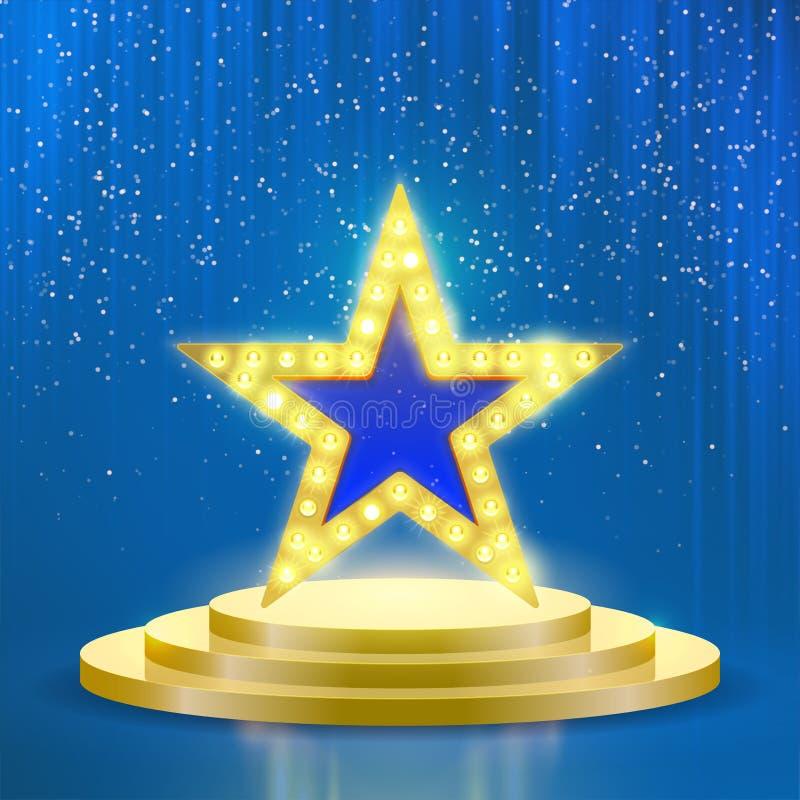 Fundo claro azul do vetor das lâmpadas do pódio da estrela ilustração do vetor