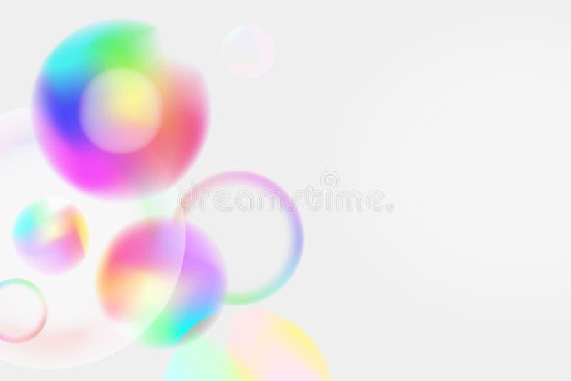 Fundo claro colorido com bolhas dos círculos do arco-íris ilustração do vetor