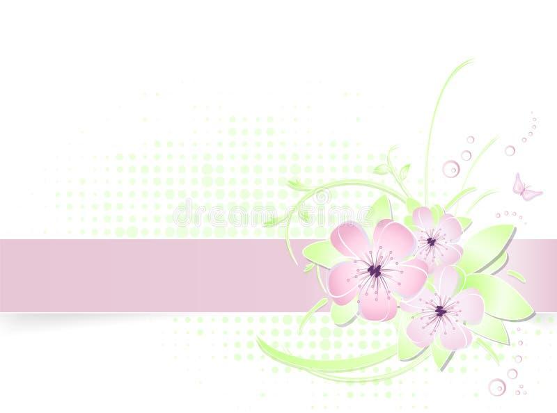 Fundo claro da flor da mola com bandeira ilustração stock