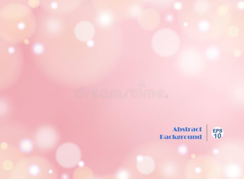Fundo claro do rosa do inclinação com bokeh redondo ilustração do vetor