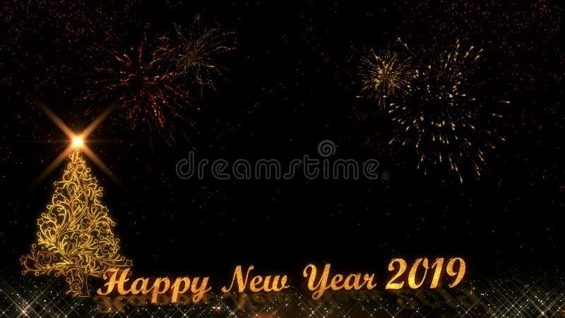 Fundo 2019 claro dourado dos fogos de artifício das partículas do brilho da árvore de Natal do ano novo feliz ilustração stock