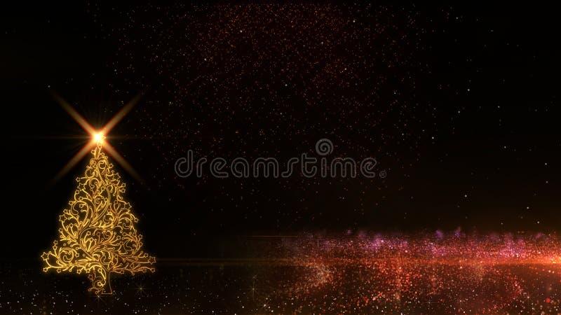 Fundo 2019 claro dourado dos fogos de artifício das partículas do brilho da árvore de Natal do ano novo feliz ilustração do vetor