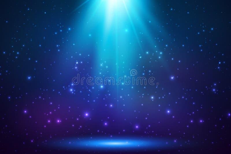 Fundo claro mágico superior de brilho azul ilustração stock
