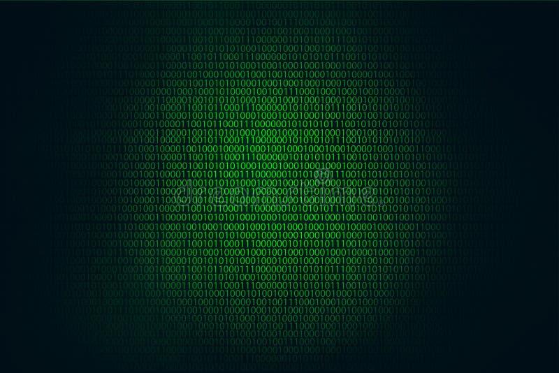 Fundo, codificação ou hacker do verde do hacker do código binário ilustração do vetor