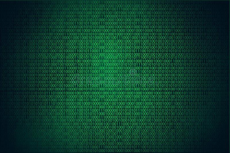 Fundo, codificação ou hacker do verde do hacker do código binário ilustração stock