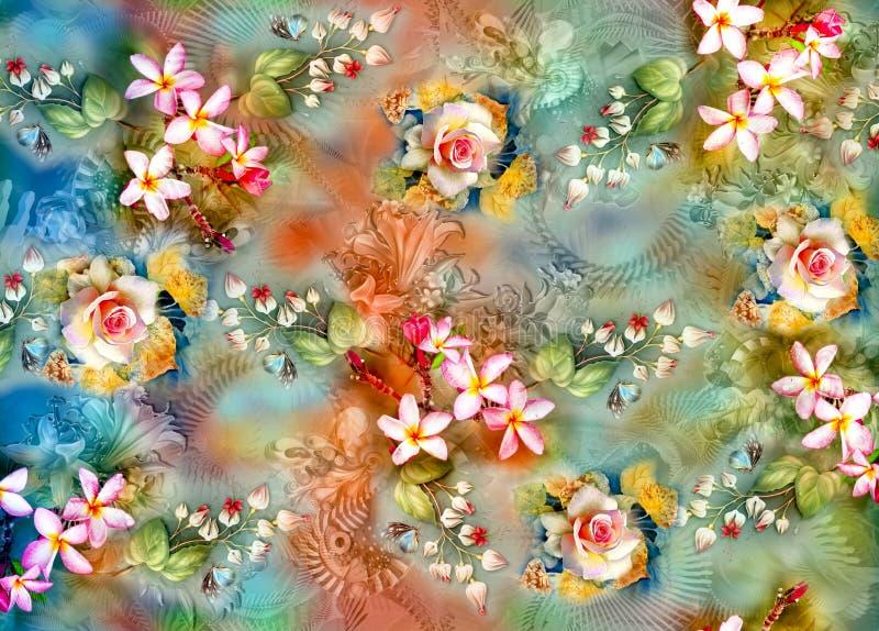 Fundo colorido abstrato com flor bonita ilustração do vetor