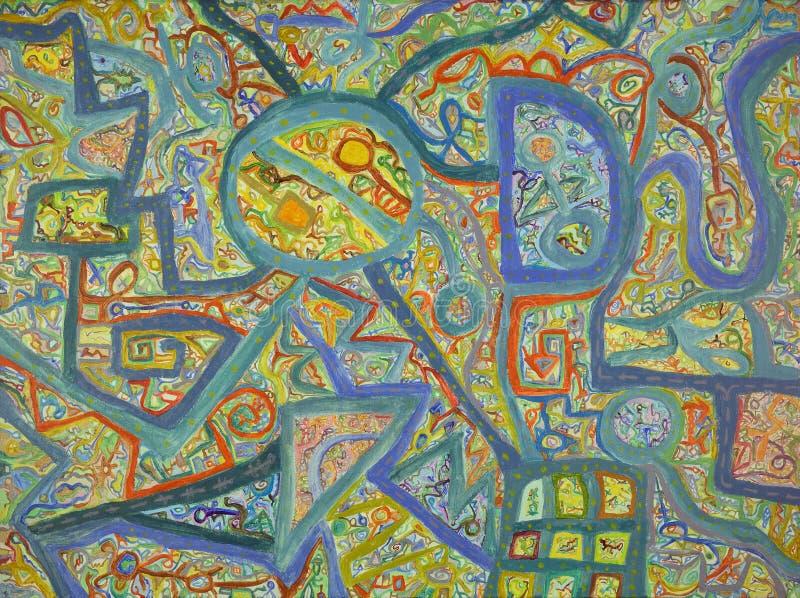 Fundo colorido abstrato com muitas linhas pintura ilustração do vetor