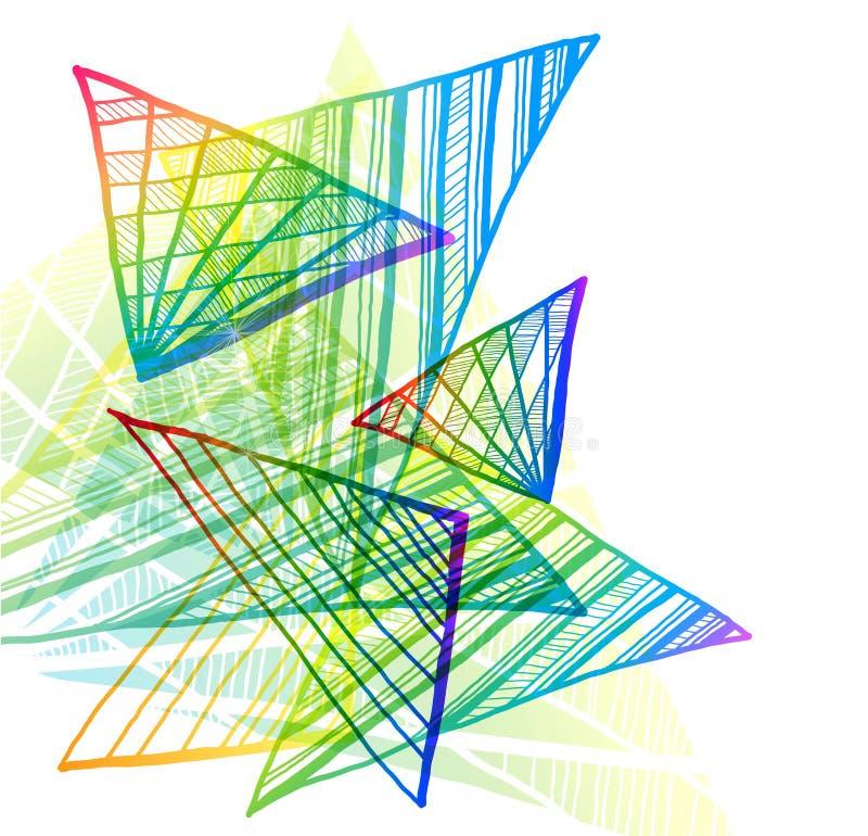 Fundo colorido abstrato com triângulos ilustração stock