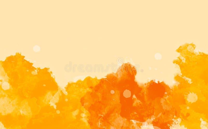 Fundo colorido abstrato da cor de água, o amarelo e o alaranjado ilustração royalty free