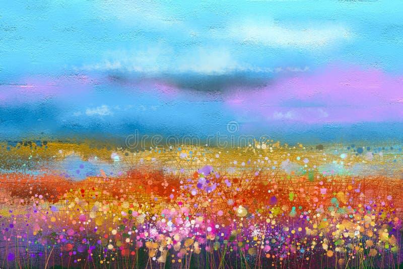Fundo colorido abstrato da paisagem da pintura a óleo ilustração do vetor