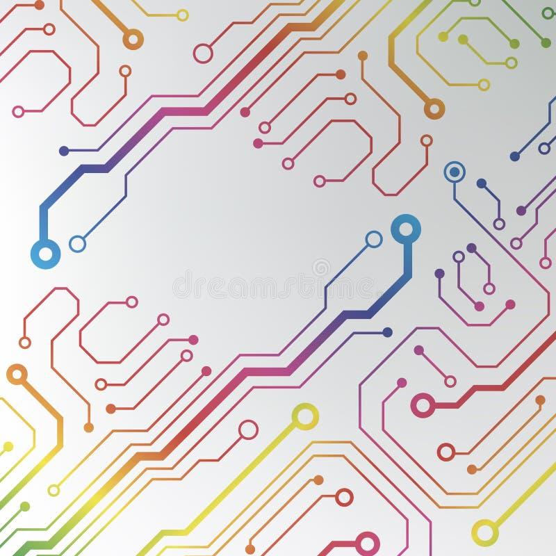 Fundo colorido abstrato da placa de circuito. ilustração alinhada circuito do teste padrão ilustração royalty free