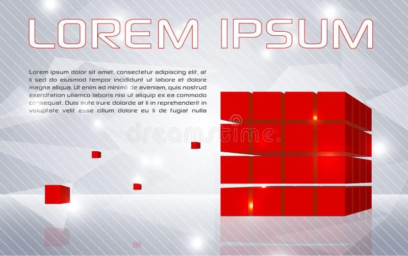 Fundo colorido abstrato do vetor com cubos vermelhos ilustração stock