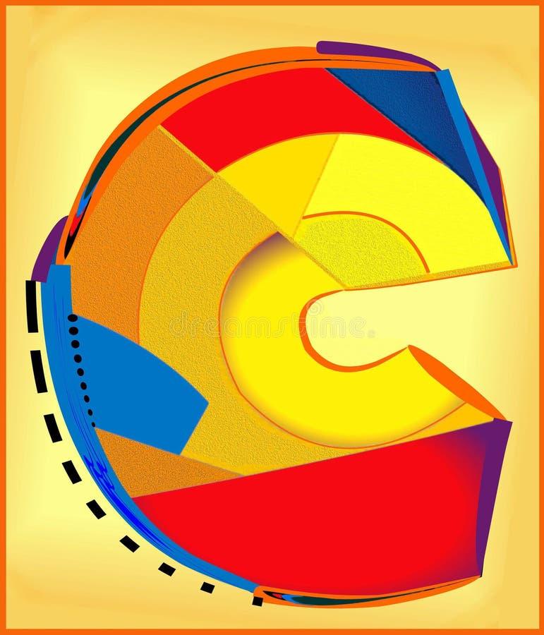 Fundo colorido abstrato, letra principal C foto de stock