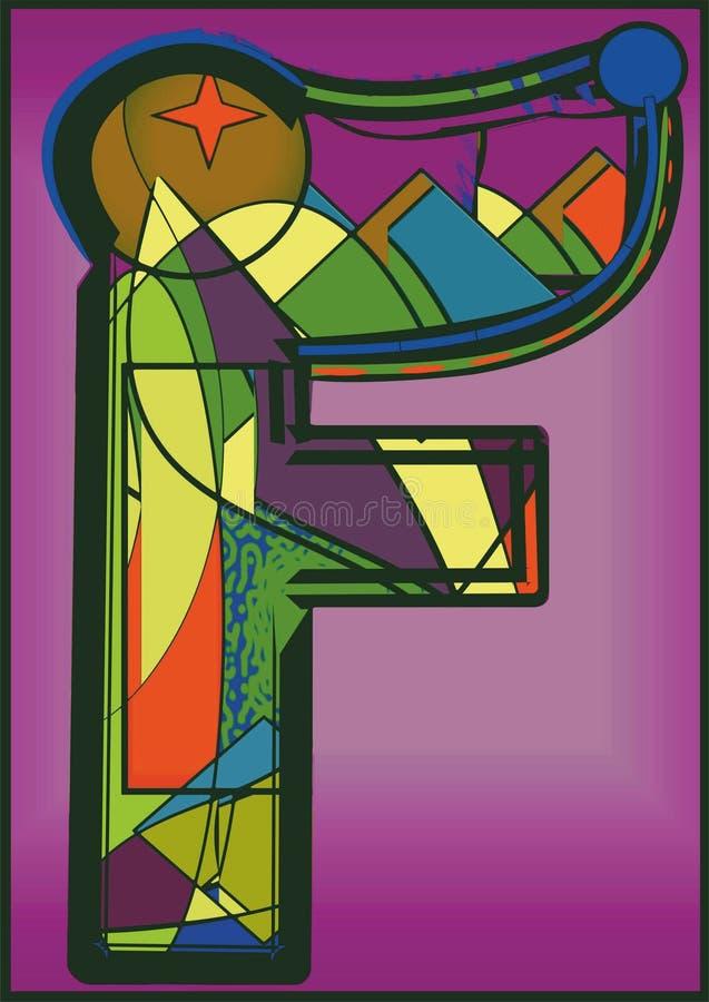 Fundo colorido abstrato, letra principal F ilustração do vetor