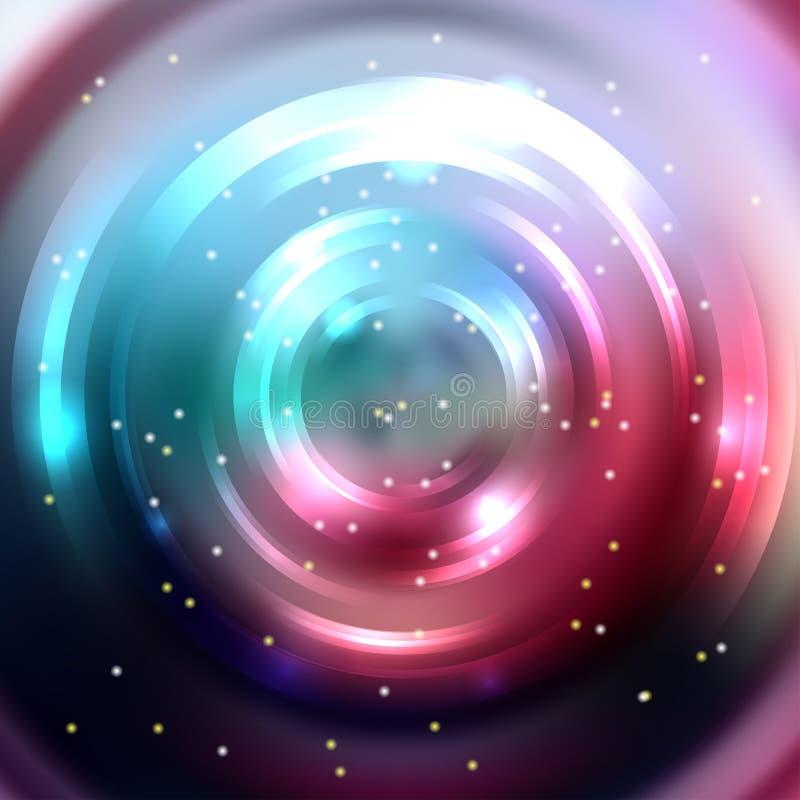 Fundo colorido abstrato, túnel de brilho do círculo Modificação elegante ilustração stock
