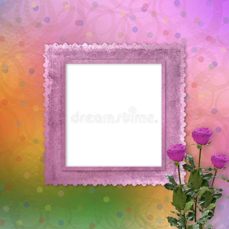 Fundo colorido brilhante com rosas ilustração do vetor