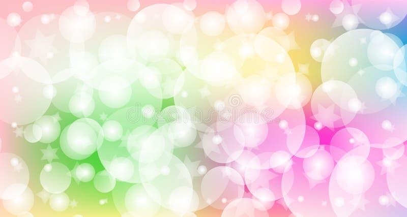 Fundo colorido brilhante das bolhas com efeito do bokeh para a faculdade criadora, o festival e conceitos e projetos sonhadores ilustração royalty free
