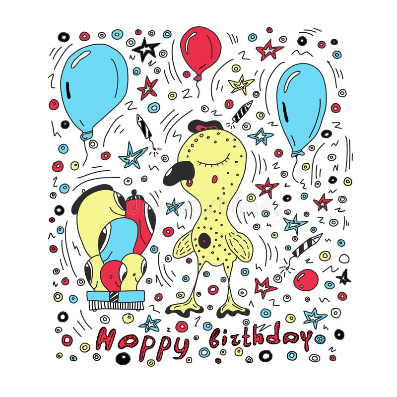 Fundo colorido c do vetor do cartão do feliz aniversario com caráteres bonitos do estilo dos desenhos animados Ilustra??o do veto ilustração do vetor