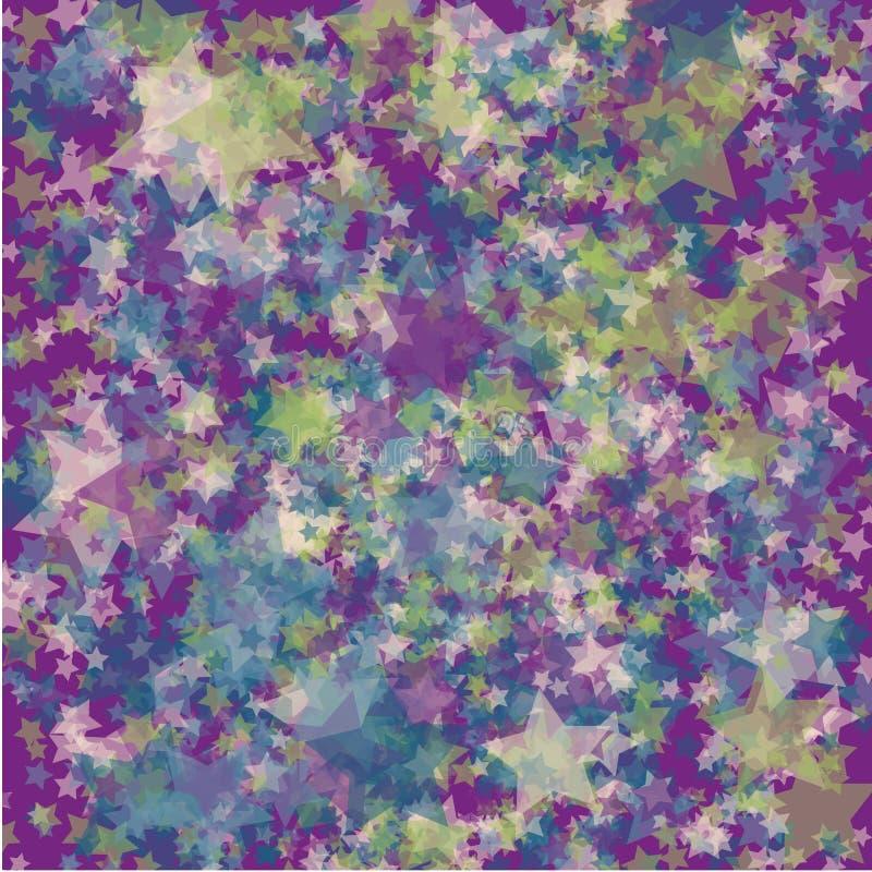 Fundo colorido caótico das estrelas ilustração stock