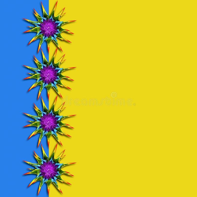Fundo colorido com as flores espinhosos do arco-íris fotografia de stock
