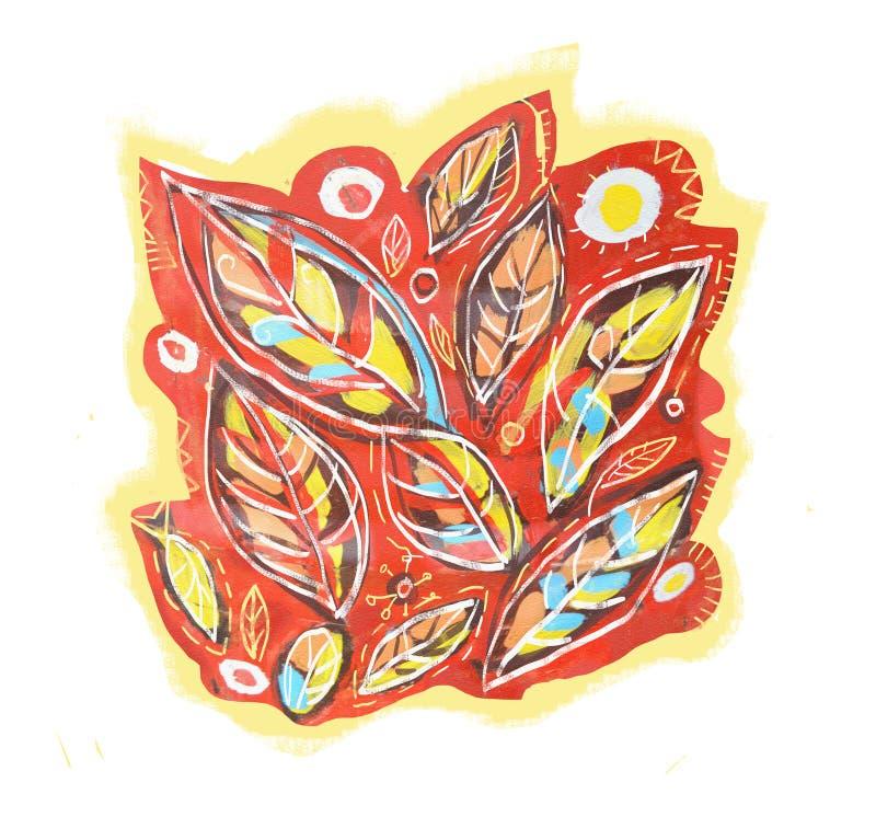 Fundo colorido com as folhas, isoladas no branco Pintura acrílica Fundo abstrato do teste padrão da folha para seu projeto ilustração do vetor