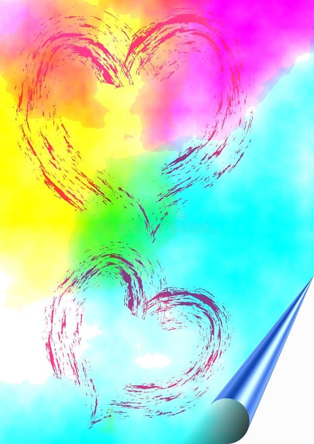 Fundo colorido com corações imagens de stock