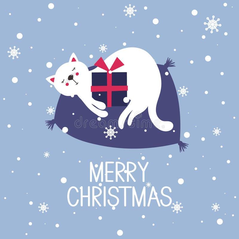 Fundo colorido com gato, presente, texto, Feliz Natal ilustração stock