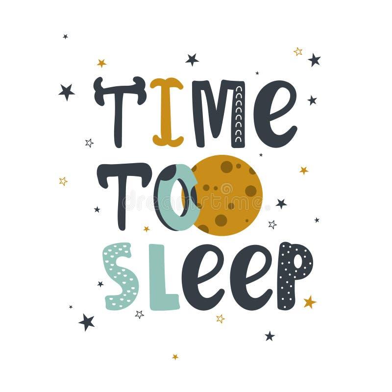 Fundo colorido com lua, estrelas e texto inglês Hora de dormir ilustração stock