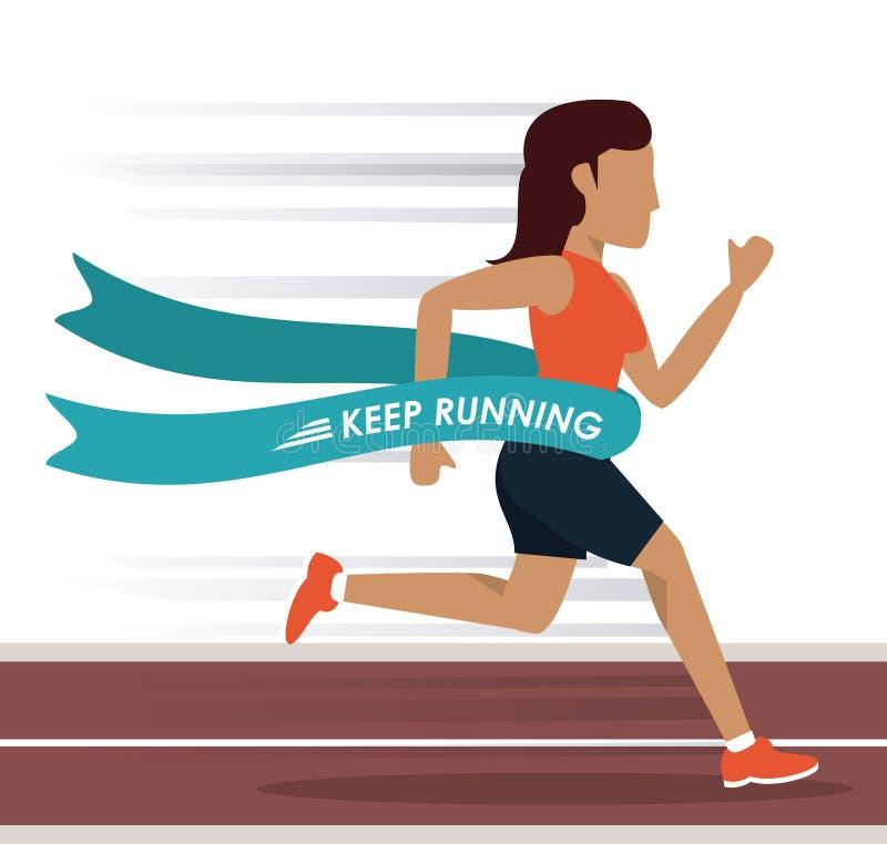 Fundo colorido com o atleta da mulher que corre na trilha e que cruza o meta ilustração stock