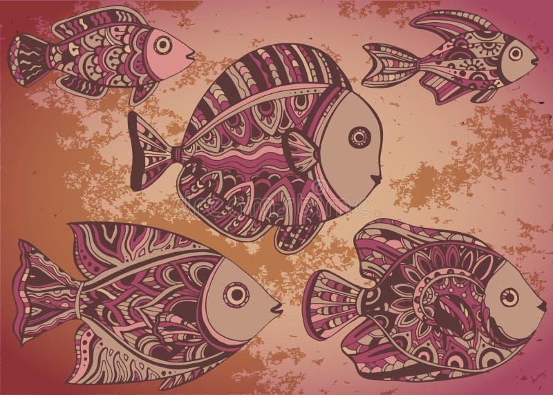 Fundo colorido com os peixes decorativos decorativos ilustração stock