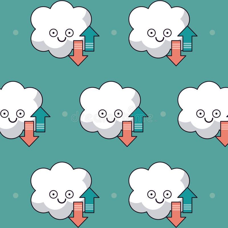 Fundo colorido com teste padrão do serviço animado do armazenamento da nuvem ilustração stock