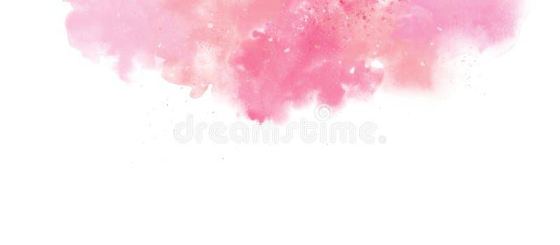 Fundo colorido da beira da aquarela delicada do rosa isolado no branco ilustração do vetor