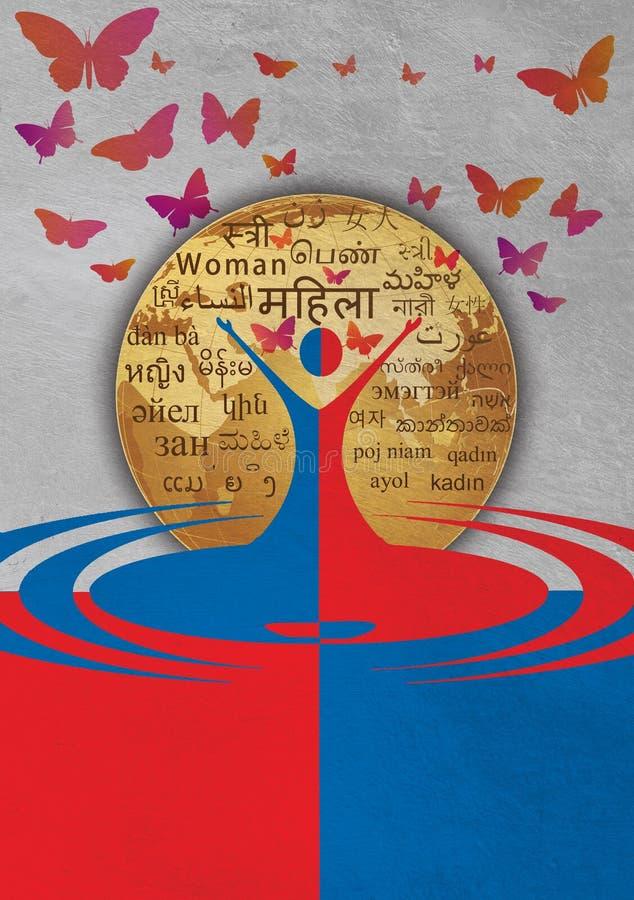 Fundo colorido da borboleta do mundo do molde do dia das mulheres ilustração royalty free