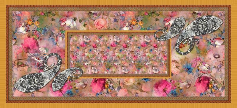 Fundo colorido da flor com paisley ilustração stock