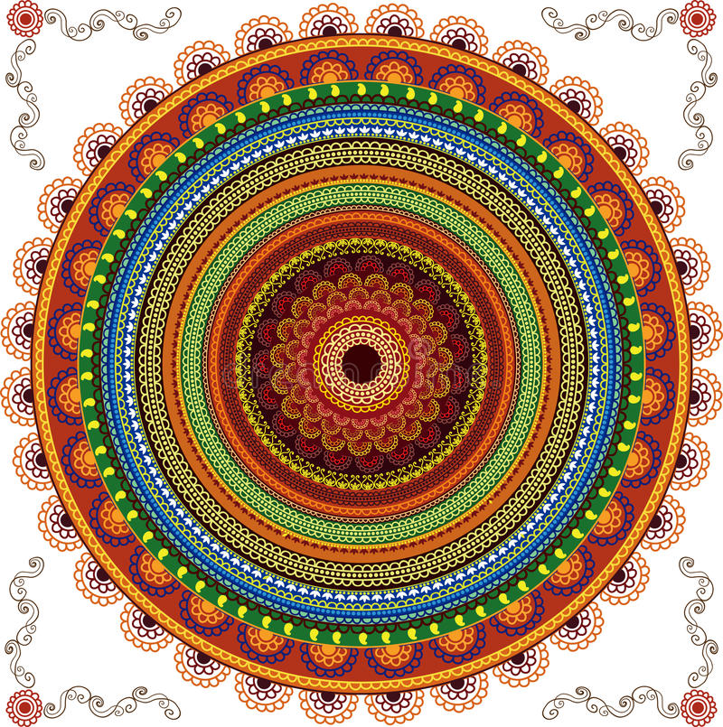 Fundo colorido da mandala do Henna fotos de stock royalty free