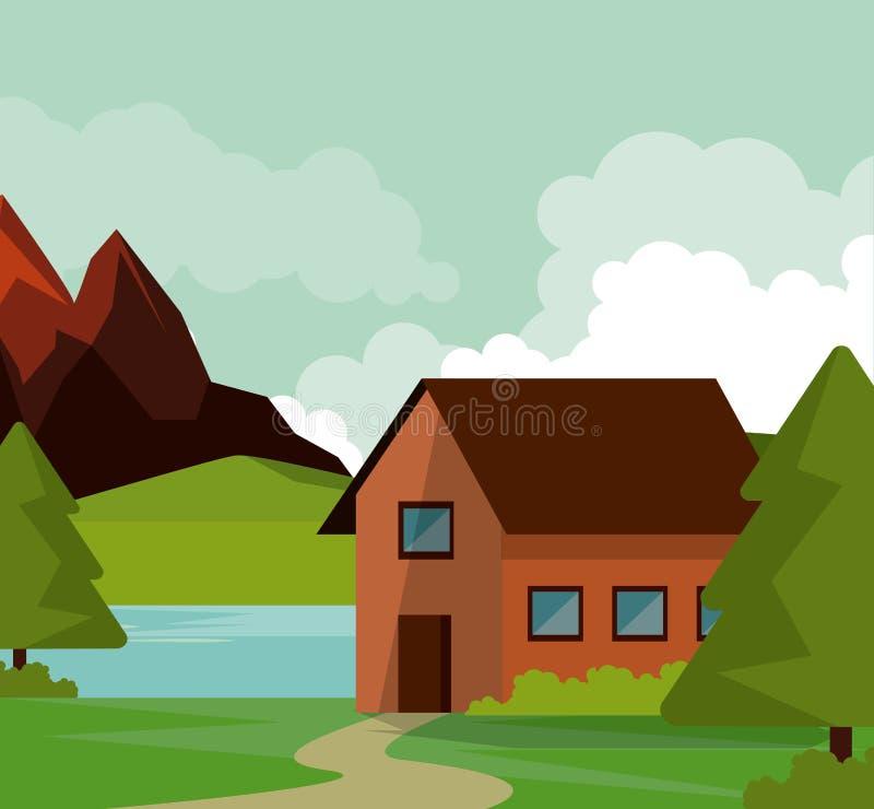 Fundo colorido da paisagem natural com casa de campo e montanhas e rio ilustração do vetor
