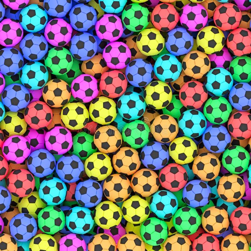 Fundo colorido das bolas de futebol ilustração stock