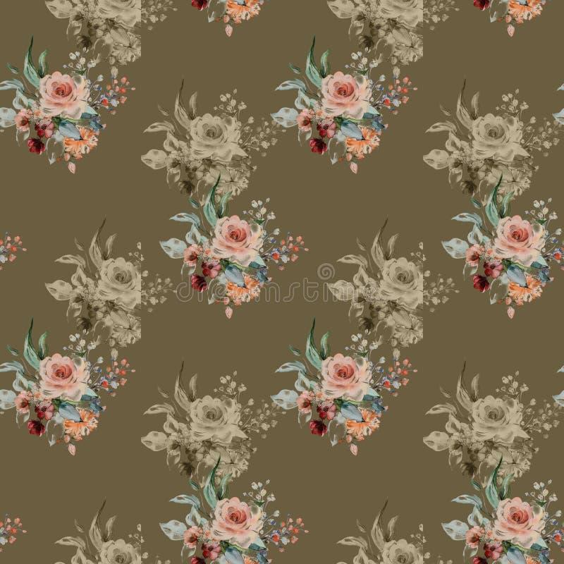 Fundo colorido das flores Aquarela - ilustra??o imagens de stock