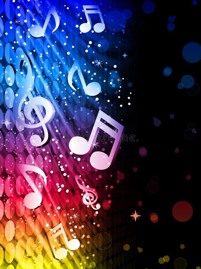 Fundo colorido das ondas do partido com notas da música ilustração royalty free