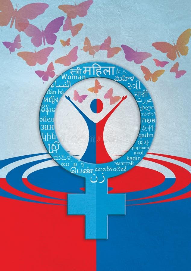 Fundo colorido de india do molde do dia das mulheres ilustração stock