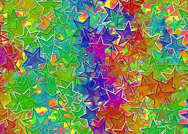 Fundo colorido de muitas estrelas ilustração do vetor