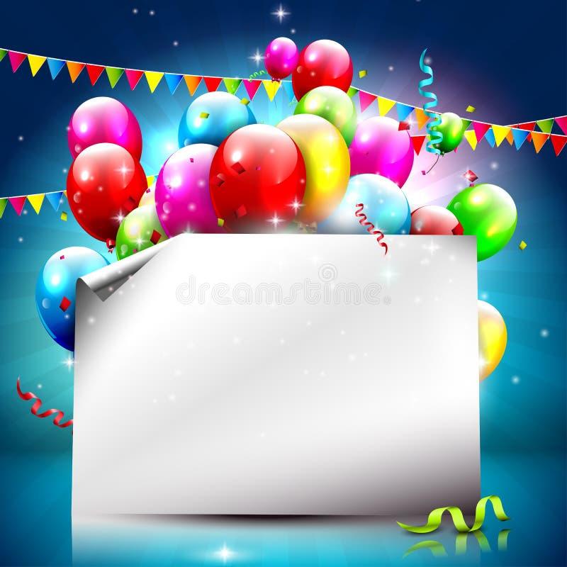 Fundo colorido do aniversário com papel vazio ilustração do vetor