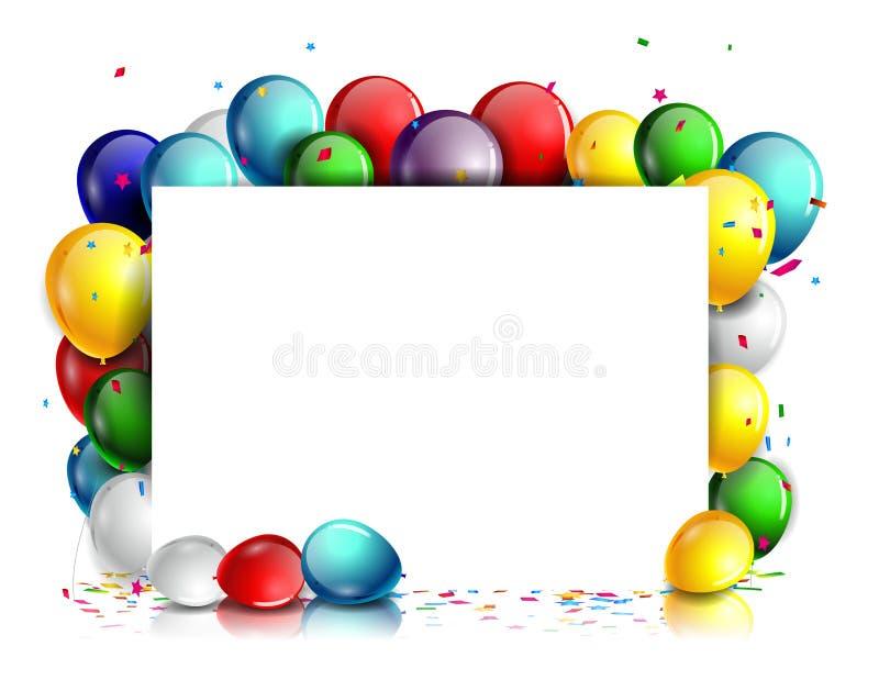 Fundo colorido do aniversário com sinal vazio ilustração stock
